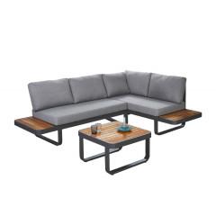 Ensemble 2 pièces - canapé d'angle et table basse en métal et bois - MALDIVES