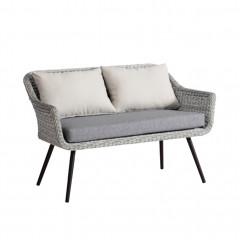 Canapé bas de jardin tressé en polyuréthane avec coussin - COOK