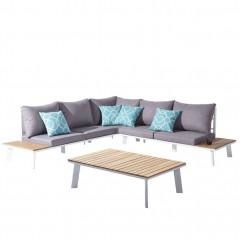 Ensemble 2 pièces - canapé d'angle et table en métal et bois - BAHAMAS