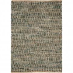 Tapis tressé vert en jute 160 x 230 - vue de face -  AARON 489