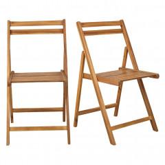 Lot de 2 chaises pliantes de jardin en acacia FSC finition huilée - JULIA 946