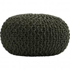 Pouf tressé en coton - vert cèdre d50xh30cm - vue de face - CESAR 425