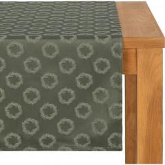 Chemin de table en polycoton vert 50x250cm - COURONNE 102