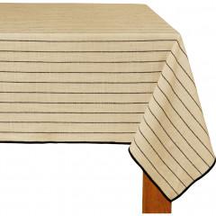 Nappe en coton blanc et noir 170x250 - BADIANE 144