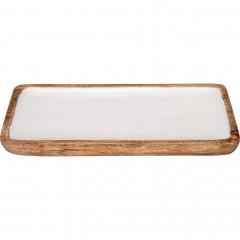 Plateau en bois et résine L36cm blanc - APHELIE 144