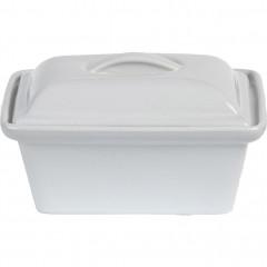 Terrine en grès blanc rectangulaire 16x11cm 0,45cl - vue de face - REGUE 707