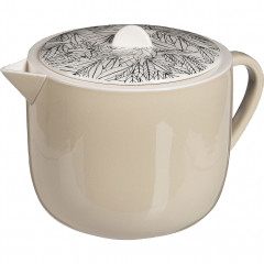 Théière en porcelaine motif laurier 55cl - beige - AIX