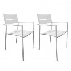 Lot de 2 chaises de jardin en métal blanc avec accoudoirs - MAGUY 483