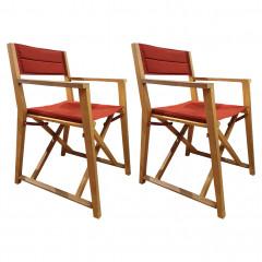 Lot de 2 chaises de jardin pliable rouge en acacia - ALASSIO 282