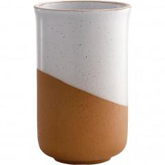 Vase bicolore en faïence blanc et marron H15cm - TUP 681