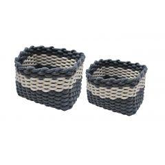 Corbeille de rangement bicolore bleu & blanc - LENA