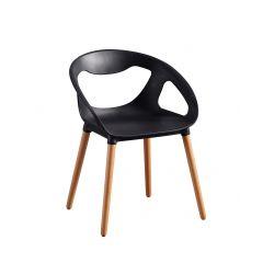 Chaise coque plastique noir et piétement bois - SPEZIA