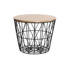 Table basse filaire ronde en métal noir et plateau décor bois - FIL