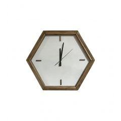 Horloge murale en pin recyclé à fond blanc - ORIGIN