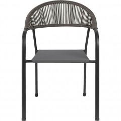 Chaise de jardin en acier avec accoudoirs gris - vue de face -JADIDA 103