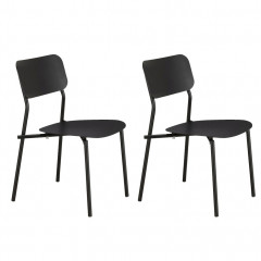 Lot de 2 chaises de jardin au design minimaliste noir - MATIAS 620