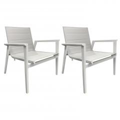 Vue de face - Lot de 2 fauteuils bas en métal blanc et tissu textilène gris - HAWAI