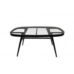 Table de jardin plateau en verre trempé et piétement en métal brossé - vue de face - TAHITI