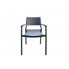 Chaise de jardin en métal et textilène noir - vue de face - OLAND