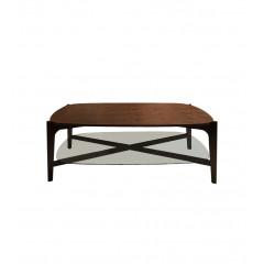 Table basse rectangulaire en bois et plateau verre - vue de face - SIMOUNO 307