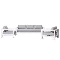 Ensemble 3 pièces - salon de jardin en métal blanc et coussins gris - SANTORIN