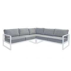 Canapé d'angle de jardin en métal blanc et coussins gris - vue d'ensemble - ELBE