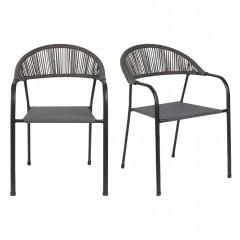 Lot de 2 chaises de jardin en acier avec accoudoirs gris - JADIDA 103