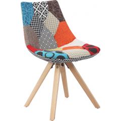 Monroe - Chaise design patchwork pieds bois scandinave color coloré