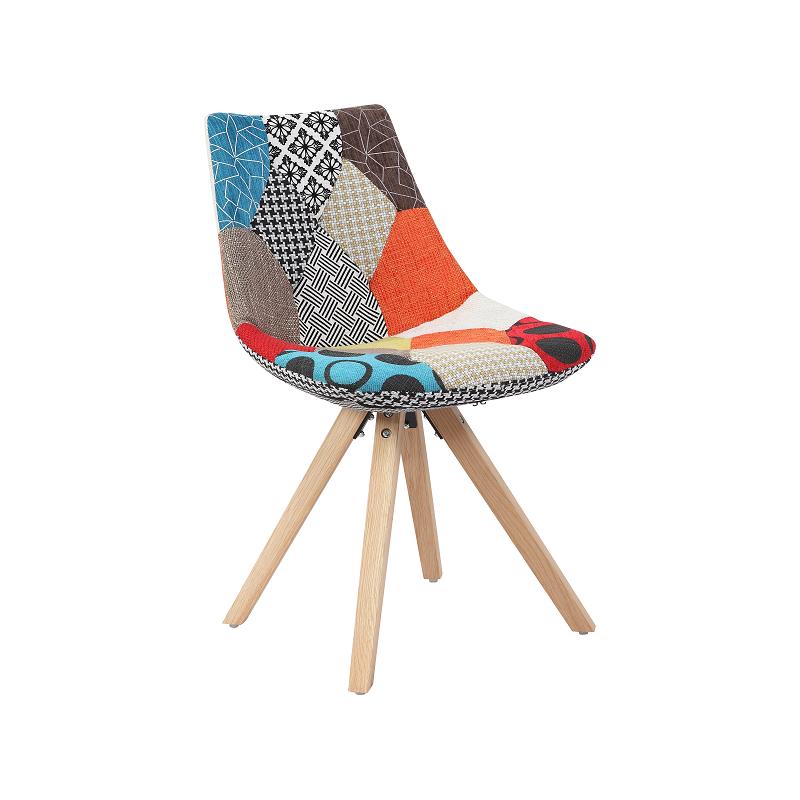 Monroe Lot De 2 Chaises Design Patchwork Pieds Bois