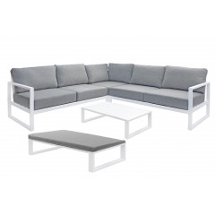 Ensemble 2 pièces - salon de jardin en métal blanc et coussin gris - vue d'ensemble - ELBE