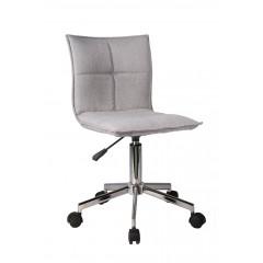 Fauteuil de bureau tissu gris matelassé sans accoudoir assise réglable avec roulettes et structure en métal - AGENCY
