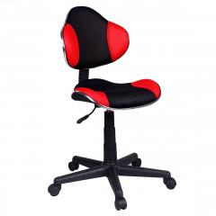 Fauteuil de bureau en mesh noir et rouge matelassé sans accoudoir avec assise réglable et confortable avec roulettes - PLAY