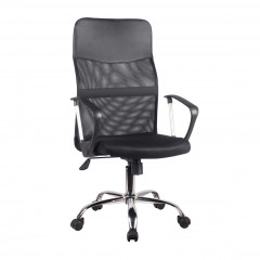 Fauteuil de bureau en mesh noir assise réglable dossier inclinable structure métal avec roulettes - SOFT