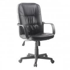 Fauteuil de bureau en simili noir assise réglable dossier inclinable avec roulettes et accoudoirs - BOSS