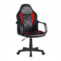 Fauteuil de bureau en simili et mesh noir et rouge assise réglable avec roulettes et accoudoirs - MASTER
