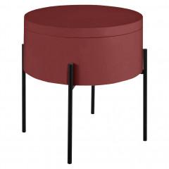 Bout de canapé rouge avec piètement métal noir - DOUFINO 208