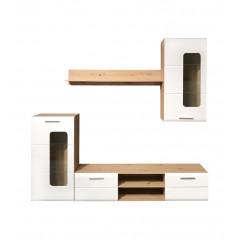 Ensemble meuble TV paroi murale blanche bois clair verre - MARGERIAZ