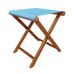 Tabouret pliant en bois d'acacia et toile en polyester bleu - PLIO 891