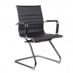 Chaise de bureau en simili noir avec accoudoirs et piètement luge - ANTONIO