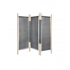 Paravent 3 volets feutrine gris clair frêne bois brut 174 x 153 cm - naturel cosy décoration - AGDE 6506