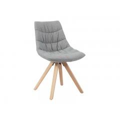 Monroe - Chaise design tissu gris pieds bois scandinave