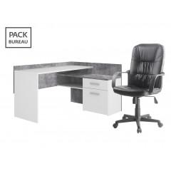 Pack bureau - Chaise + bureau d'angle avec rangements - ESTEBANE