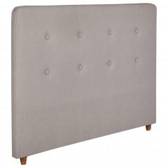Tête de lit en bois revêtement en tissu gris pour lit 140 x 200 cm - POLI 7307