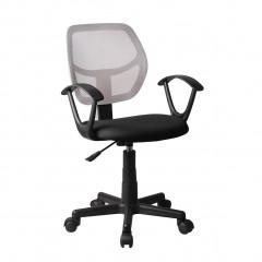 Fauteuil de bureau en mesh noir et gris avec dossier souple assise réglable accoudoirs roulettes en plastique - ROLLER