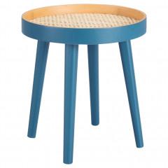 Table d'appoint en bois avec cannage bleu - PABLO 0900