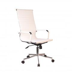 Fauteuil simili blanc avec dossier inclinable assise réglable structure en métal chromé avec roulettes - MEETING