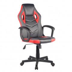 Fauteuil gaming simili noir et rouge et mesh gris avec appui-tête assise réglable dossier inclinable - ALPHA
