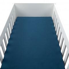 Drap housse bébé en percale de coton lavé bleu 70x140cm - PALOMA 463