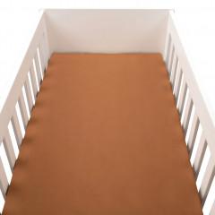 Drap housse bébé en percale de coton lavé marron 60x120 cm - PALOMA 200