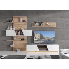 Ensemble meuble TV avec paroi murale couleur blanc et fintion chêne clair - LED  non inclus - design contemporain - LUCIE